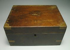 Wood Victorian Writing Slope Box Brass Corner Walnut Veneer for Restration #2