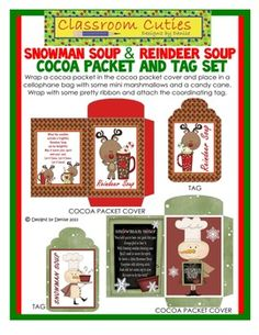 Includes 2 cocoa packet covers and 2 tags. Simply print the cocoa packet and tag on card stock. Wrap the cocoa packet in the cocoa packet cover and place in a cellophane bag with some mini marshmallows and a candy cane. Wrap with some pretty ribbon and attach the coordinating tag. Write a message on the back of the tag of you wish. Voila! A cute, easy, inexpensive little gift for student's parents, coworkers, anyone!