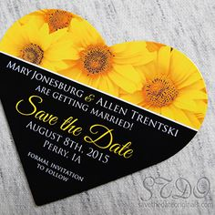 Sunflower heart shaped wedding save the date magnet!
