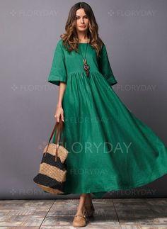 Round Neck Plain Cotton/Linen Maxi Dress - Women's style: Patterns of sustainability Half Sleeve Dresses, Maxi Dress With Sleeves, Half Sleeves, Dress Pockets, Short Sleeves, Dress Plus Size, Plain Dress, Mode Boho, Oversized Dress