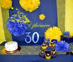 Anniversaire Bleu jaune  or  glitter birthday Fête Mariage Rouen Normandie Rouen, Decoration, Rugby, Birthday Cake, Desserts, Inspiration, Normandie, Birthday, Weddings