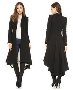 Chic Turn-down Collar Slim X-Long Trench Coat Winter Woollen Coat ...