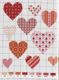 Various cross stitch hearts