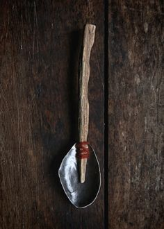 """Stream of Consciousness, Spoon by Carln Jones. Ceramic Spoons, Wooden Spoons, Chalk Design, Spoon Art, Found Art, Japanese Interior, Old Tools, Garden Trowel, Wood Colors"