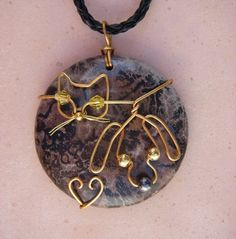 Unique Gold Wire Cat and Dog on Jasper Pendant by jillmh123, $12.50