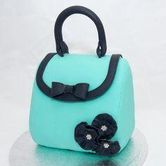 Aqua cake that looks like a purse