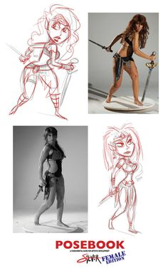 Some quick sketch inspiration from PoseBook. The real goal is to use the reference as a Guide for story, balance, construction and then create your own characters. At first keep your sketches rough. Character Design Sketches, Female Character Design, Character Design References, Sketch Inspiration, Character Design Inspiration, Character Poses, Character Art, Fighting Drawing, Art Nouveau Mucha