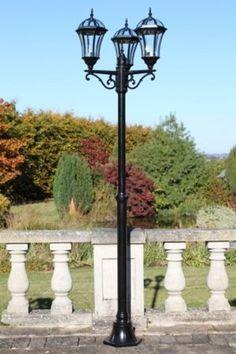Traditional Triple Headed Garden Or Patio Lamp Post Tall   Aluminium