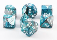 Gemini dice are on sale now! Get ready for adventure with a set of Gemini Teal and Steel gaming dice. Works great for D&D, Pathfinder, and all the best role playing games.