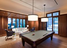 Traditional Family Room by Tim Cuppett Architects-The two pendant fixtures over this pool table look fresh and the ceiling treatment also works well in the space.