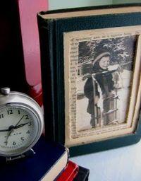 Repurposed vintage book into photo frame