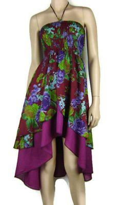 FESTIVAL - Double Layer Cotton/Voile Printed Hippie Boho Dress Size 8 - 12 Au