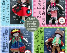 """Doll Clothes BUNDLE Daddy Date Collection for 12"""" Felt Zoey Doll with 4 Outfits PDF Sewing PATTERNS"""