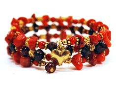 Candy Rocks coil bracelet in CHERRY by Lumibon