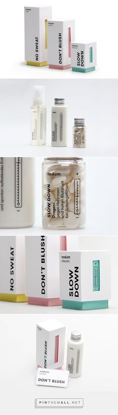 Noskam on Behance by Muskat Berlin Germany curated by Packaging Diva PD. Interesting fictional packaging fighting the symptoms of shame which was the topic of typography class at TH Nürnberg. Drug Packaging, Medicine Packaging, Tea Packaging, Print Packaging, Beauty Packaging, Skincare Packaging, Bottle Packaging, Coperate Design, Label Design