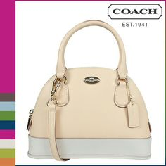 "NWT Coach leather satchel New Coach leather satchel. Dim: 9.5"" L x 7.5"" H x 3"" W. Color: offwhite and apricot Bicolor Crossgrain mini cora domed shoulder purse Model: F34090 Detachable and adjustable shoulder strap. No trade Coach Bags Satchels"