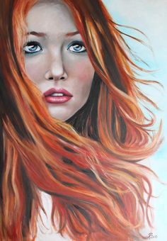 """Restlessness"" Oil on Canvas, it by carden Witch Painting, Painting Of Girl, Shades Of Red Hair, Red Hair Color, Redhead Art, Mixed Media Faces, Fantasy Witch, Sketch Inspiration, Portrait Art"