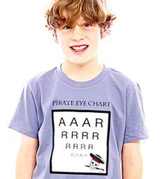 Funny t-shirt. Funny pirate eye chart t-shirt. We imagined a pirate with an eye patch at the eye doctor...aaarrrrrrrrrrrrr!