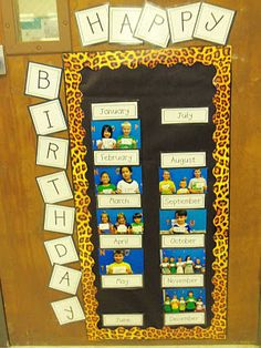 I love this idea! Have all the children that have birthdays in the same month, line up with an index card of the actual date. So much cuter and more creative than a poster to write them on!