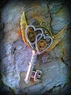Two Hearts Fantasy Key by ArtbyStarlaMoore on Etsy, $15.00