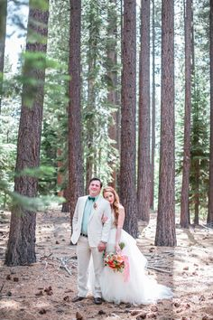Playful pops of color look gorgeous against this woodsy redwood grove. Wedding Flowers: Petalworks, Wedding Photographer: Jasmine Star, Wedding Coordinator: amazáe | events