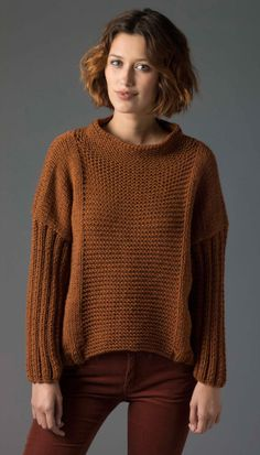 Image of Level 2 Knit Pullover from Lion Brand - free patterns, chunky weight