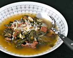 Beef and escarole soup with mushrooms and orzo.