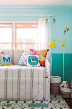 Two tone turquoise walls
