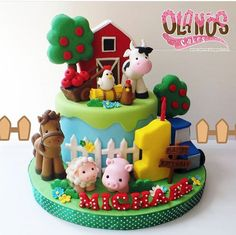 New birthday cake boys animals ideas Farm Birthday Cakes, Baby Boy Birthday Cake, Animal Birthday Cakes, Farm Animal Birthday, Birthday Cakes For Teens, Cakes For Boys, Birthday Boys, Cake Kids, Husband Birthday