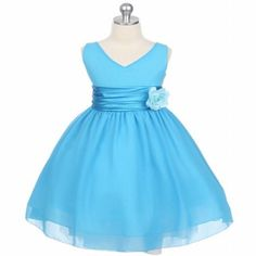 Simple V-neck Blue Organza Girl's Pageant Dresses With Bow Sash 2015 Hot Pleats Ankle-length Formal Wedding Party Girl's Gown Custom Made, $62.31 | DHgate.com
