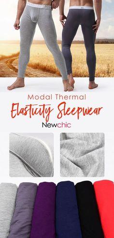 Mens Modal Thermal High Elasticity Butt Lifting U Convex Pouch Breathable  Heated Sleepwear Long John is warmest 5f5829b56