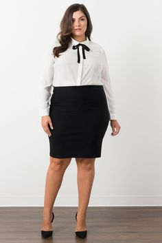 Suzy Shier Curve Appeal Chiffon Blouse With Bow Tie