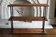 DIY Shelf // Brewed Together Just found our entertainment center - Shelf Bookcase - Ideas of Shelf Bookcase Diy Wood Projects, Furniture Projects, Home Projects, Diy Furniture, Wood Crafts, Furniture Makeover, Industrial Sofa Table, Bike Shelf, Woodworking Toys