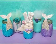 Mermaid Party Decorations, Mermaid Mason Jar Centerpiece, Mermaid Decor, Mermaid Centerpiece, Mermaid Baby Shower, Mermaid, Mermaid Birthday #babyshowerideas4u #birthdayparty #babyshowerdecorations #bridalshower #bridalshowerideas #babyshowergames #bridalshowergame #bridalshowerfavors #bridalshowercakes #babyshowerfavors #babyshowercakes