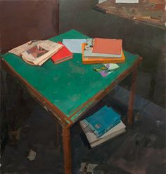 Alexander Fowler, Books on a table no.1 Oil on canvas, 86 x 81 cm