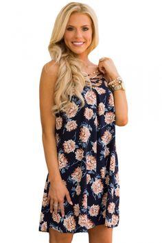 Blue Floral Print Crisscross Neckline Shift Dress