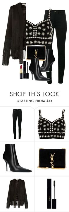 """Sem título #5757"" by lguimaraes ❤ liked on Polyvore featuring Yves Saint Laurent, River Island, Balenciaga, Galvan and Gucci"