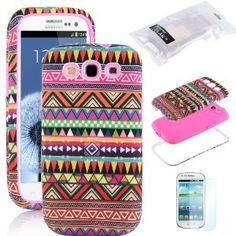 Amazon.com: Pandamimi ULAK 3in1 Hybrid High Impact Pink Hard Aztec Tribal Pattern + Pink Silicone Case Cover For Samsung Galaxy S3 SIII i930...