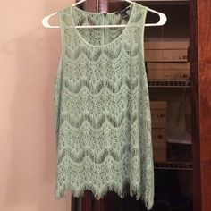 Forever 21 Green Lace sleeveless top - Nwt Green lace tank. Perfect for summer and spring. Eyelash lace design. Forever 21 Tops