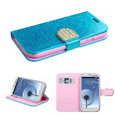 Book-Style Diamond Belt Galaxy S3 Wallet Case - Blue Glittering