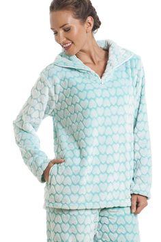 Supersoft Fleece Mint Green And White Heart Print Pyjama Set