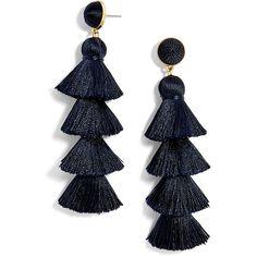 Women's Baublebar Gabriela Tassel Fringe Earrings ($48) ❤ liked on Polyvore featuring jewelry, earrings, navy, navy jewelry, statement earrings, baublebar, fringe tassel earrings and fringe jewelry