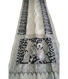 Black and White Hand Painted Kalamkari Chennur Silk Saree