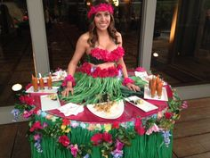 Hawaiian style living table provided by J&D Entertainment in Houston, TX, Aloha, grass skirt, hula girl, Houston Entertainment Company www.jdentertain.com