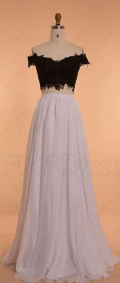 fd3b46cbb1d3 Black and White Off the Shoulder Long Prom Dresses