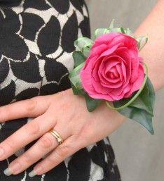 Artificial Cerise Pink Isabel Foam Rose Wedding Flower Wrist Corsage