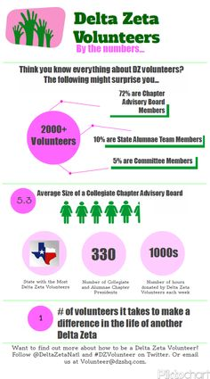 2013 Delta Zeta Volunteers by the numbers. Thank you to all our Volunteers!