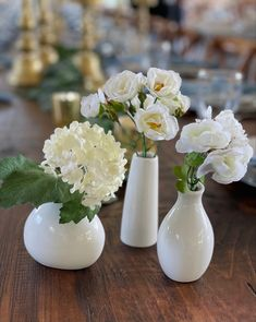 White silks in bud vases Florals vary 10 sets of (3)