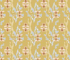 Bees and Apple Blossoms fabric by andrea_kopacek on Spoonflower - custom fabric