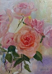 Peony Roses by Heather Dawn Kemp Oil ~ 7 x 5 available, commissions welcome. #Pinterest #followers #share #click